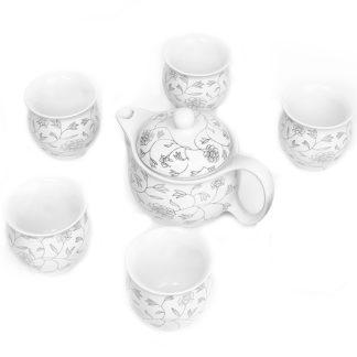 Tee-Set,Teekanne, doppelwandig,PozelanTasse, Tee Becher, tea cup, teapot