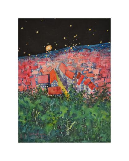 Nacht Landschaft | Aquarell