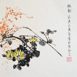 Daisies, Chinese, Japanese, ink, painting,Chrysantheme, china, Tusche, Gemälde