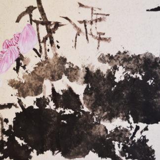chinese painting lotus, chinesische tuschemalerei,kalligrafie