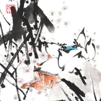 lotos lotus Malerei painting Tusche ink Heim Home Deko deco art Kunst wall Wand Office Büro
