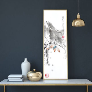 lotos lotus Malerei painting Tusche ink Heim Home Deko deco art Kunst wall Wand Office Büro