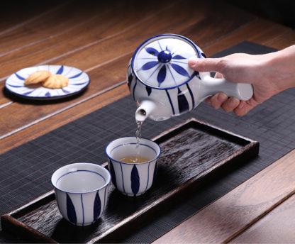 Porzellan, Tee, kanne, Teesieb, Tasse,blau