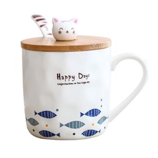 Tasse,Porzellan,Tee,Becher,cup,cat,fish,Cartoon