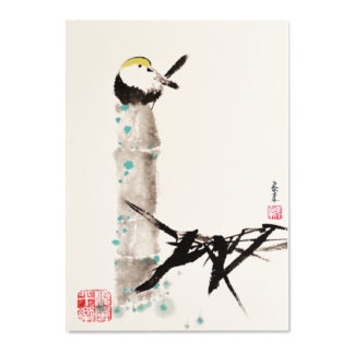 Postkarte Vogel Bambus Bamboo bird postcard