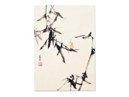 Postcard postkarte bamboo Bambus Schnecke snail