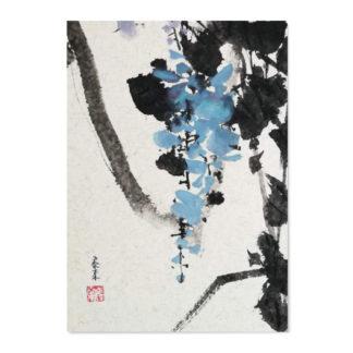 postcard Postkarte Glyzinien wisteria bird Vogel
