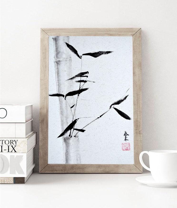 bambus bamboo chinesische japanische tuschemalerei sumie