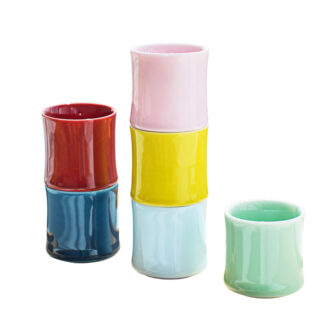 Bunte Bambustasse PorzellanGrün Blau Pink Weiß Rot Gelb