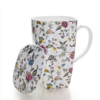 Blumen Trommel tasse Deckel Becher Tee tea cup knochen porzellan