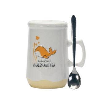 tasse Deckel Becher Tee tea cup porzellan Delphin