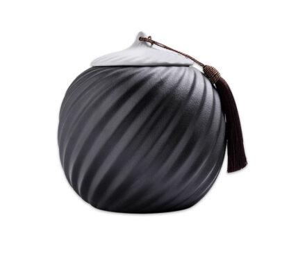 Tee Dose Teedose black white schwarz Weiß Keramik