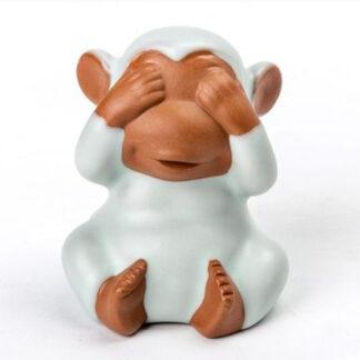 Keramik Affe monkey blau braun dekoration Geschenk gift sehen hören sagen bewegen