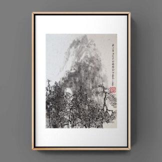 Berg Baum mountain tree Landschaft landscape sumie painting chinesische japanische Tusche Malerei janpanises chinese ink painting