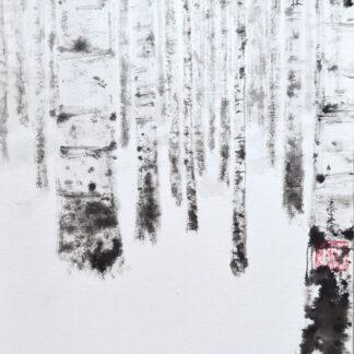 Birkenwald Birch forest Landschaft landscape sumie painting chinesische japanische Tusche Malerei janpanises chinese ink painting