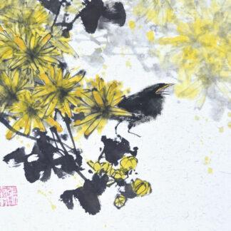 Daisy Chrysantheme vogel sumie painting chinesische japanische Tusche Malerei janpanises chinese ink painting