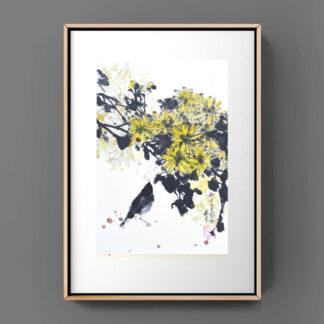 Daisy Chrysantheme vogel sumie painting chinesische japanische sumie painting Tusche Malerei janpanises chinese ink painting