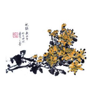 Chrysantheme chrysanthemum daisy Tusche Malerei Sumi-e painting chinesische japanische Kunstpostkarten