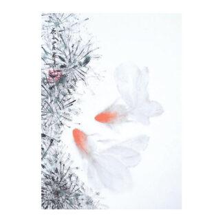 Postkarte Goldfisch Tusche Malerei Sumi-e painting chinesische japanische Kunstpostkarten