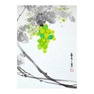 Postkarte grapes Traube wein wine Tusche Malerei Sumi-e painting chinesische japanische Kunstpostkarten