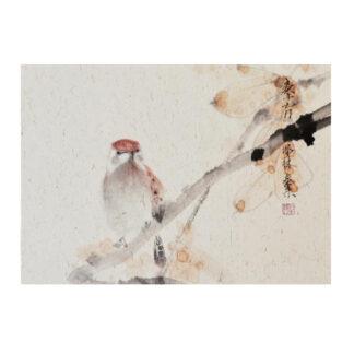 spatz Postkarte Vogel Tusche Malerei Sumi-e painting chinesische japanische zeichnung Kunstpostkarten