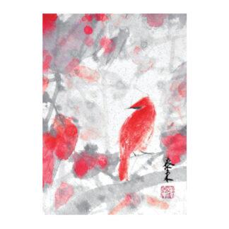 Postkarte Vogel Tusche Malerei Sumi-e painting chinesische japanische zeichnung Kunstpostkarten