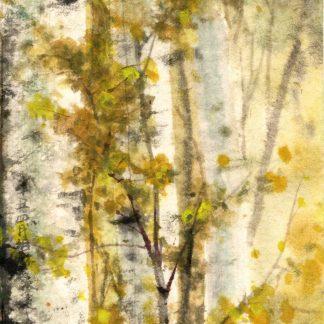 Birke Wald birch forest Tusche Malerei Sumi-e painting chinesische japanische wall art Wand Kunst
