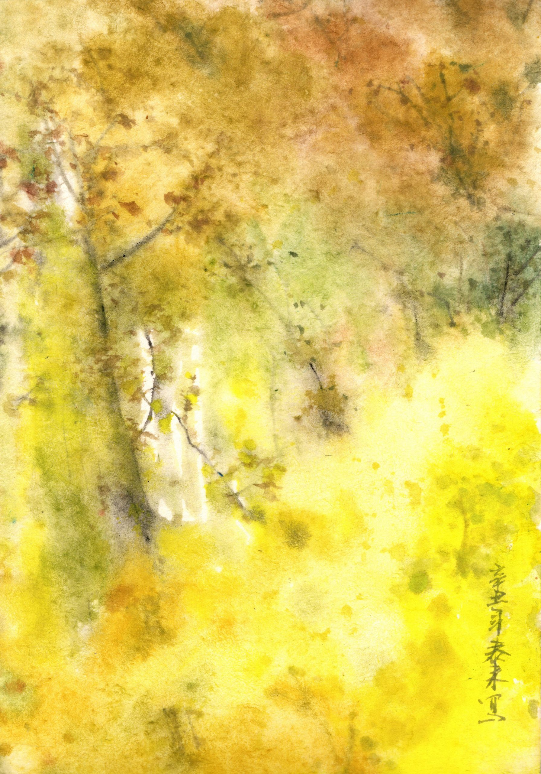 Birken Birch forest Landschaft landscape sumie painting chinesische japanische Tusche Malerei janpanises chinese ink painting Tusche Zeichnung Malerei