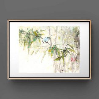 Blauer Vogel,bambus,bamboo,Schnecke,bluebird,sumie painting chinesische Tusche japanische Tusche Malerei janpanises chinese ink painting,wall decoration, Wanddekoration
