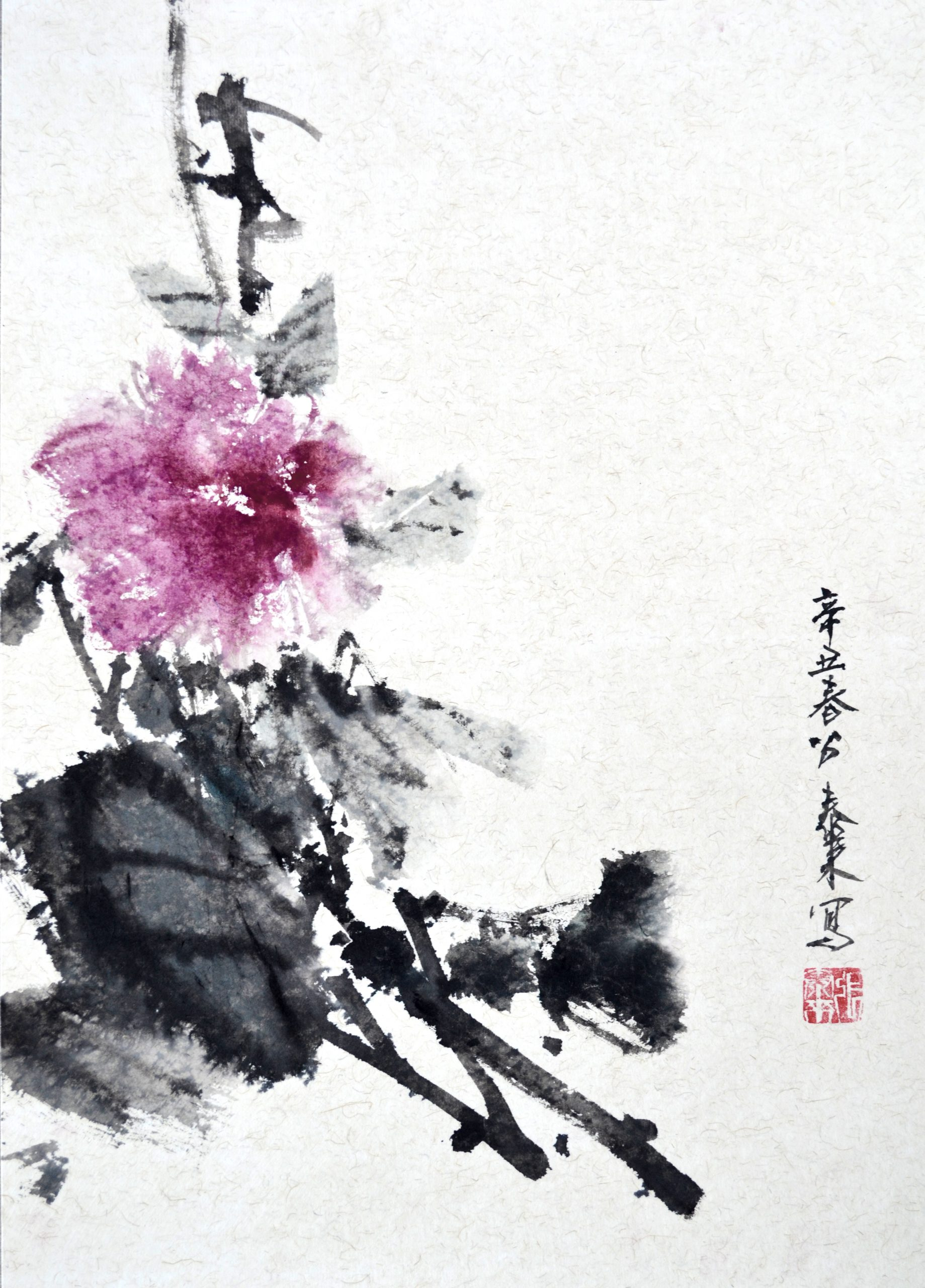 camellia kamelie chinese japanese ink sumie painting chinesische Kunst japanische Tusche Zeichnung Malerei