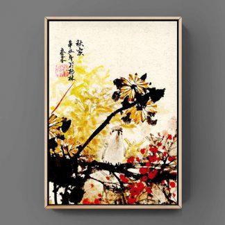 Chrysantheme, vogel bird Spatz sparrow sumie painting chinesische japanische Tusche Malerei janpanises chinese ink painting