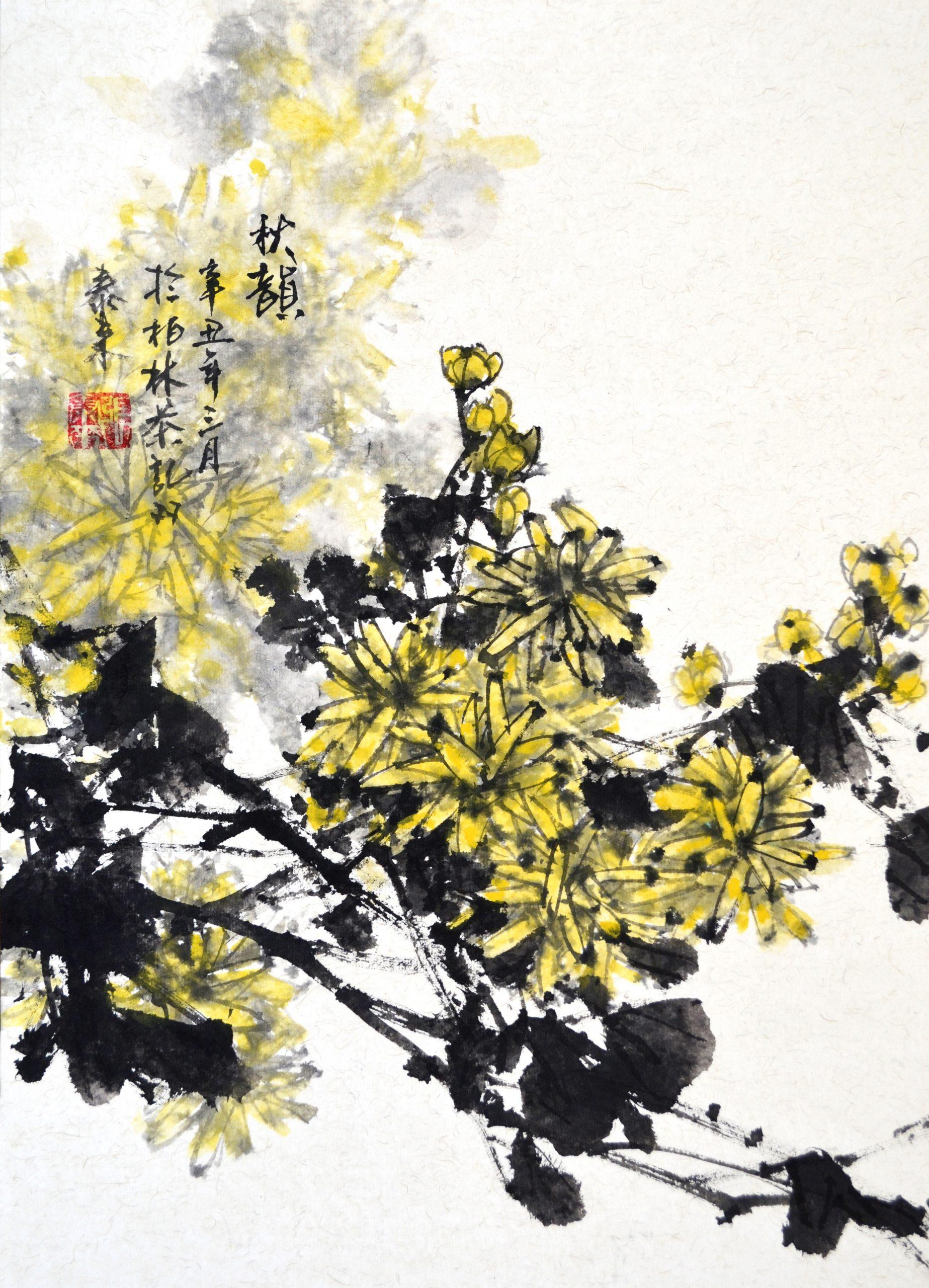 daisy bird Chrysantheme Vogel chinese japanese ink sumie painting chinesische japanische Tusche Zeichnung Malerei