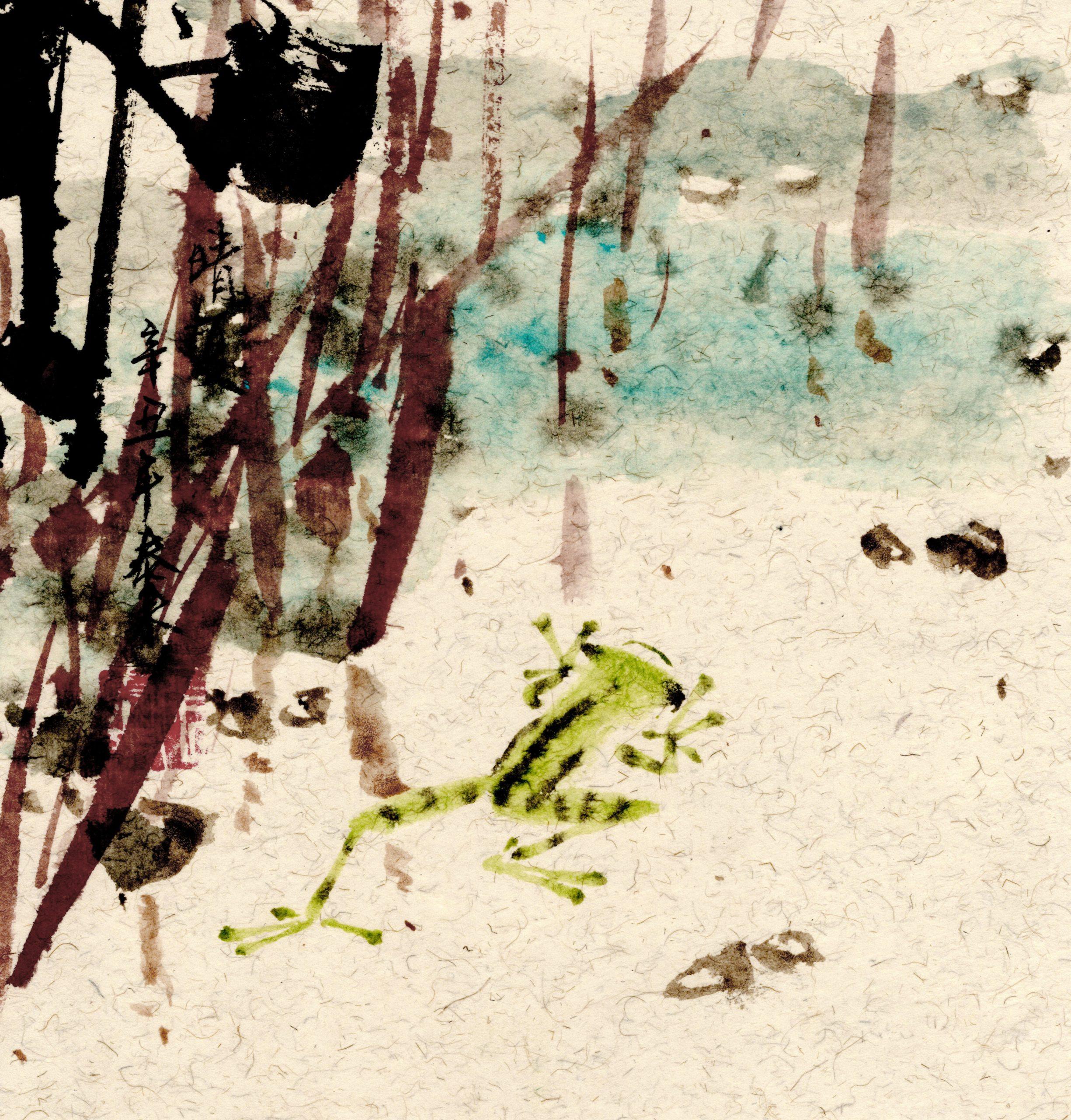 frog frosch chinese japanese ink sumie painting chinesische japanische Tusche Zeichnung Malerei Kunst