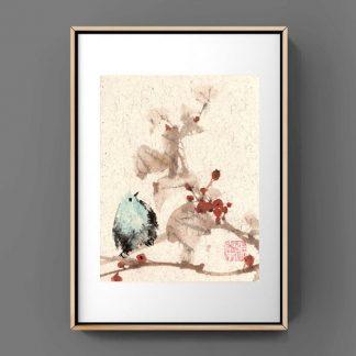 Blauer Vogel, bluebird,sumie painting chinesische Tusche japanische Tusche Malerei janpanises chinese ink painting,wall decoration, Wanddekoration