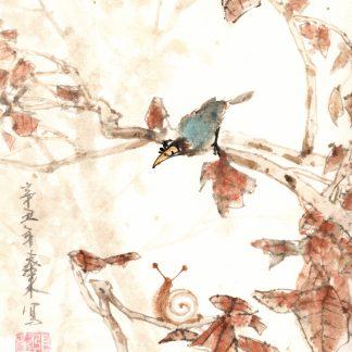 Blauer Vogel,snail ,Schnecke,bluebird,sumie painting chinesische Tusche japanische Tusche Malerei janpanises chinese ink painting,wall decoration, Wanddekoration