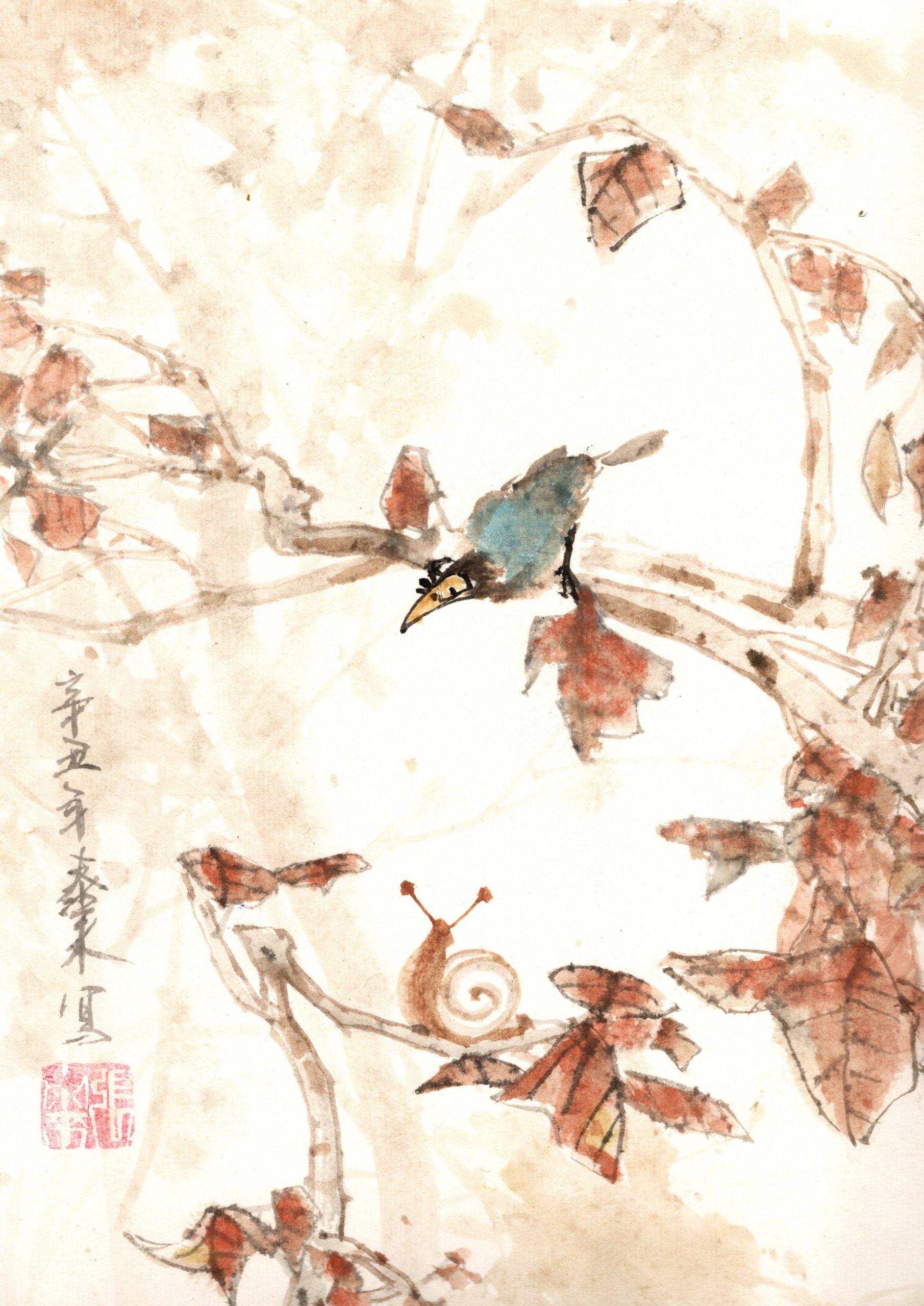 blauer Vogel schnecke blue bird snail chinese japanese ink sumie painting chinesische japanische Tusche Zeichnung Malerei Kunst