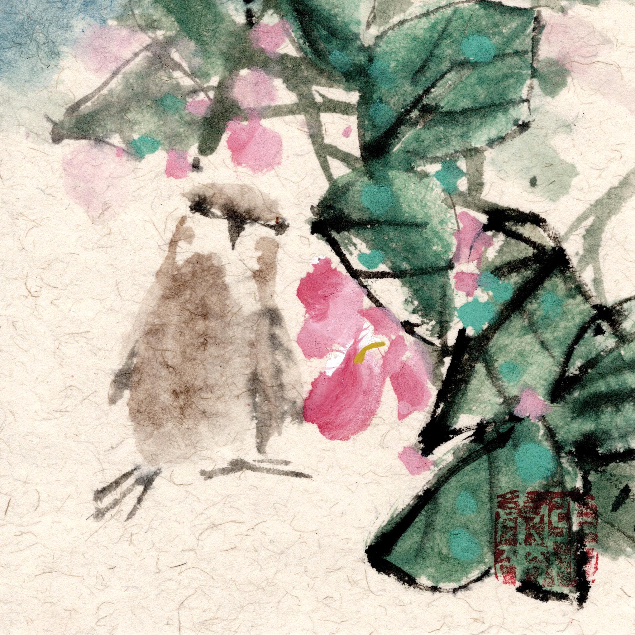 Spatz sparrow Vogel bird chinese japanese ink sumie painting chinesische japanische Tusche Zeichnung Malerei Kunst