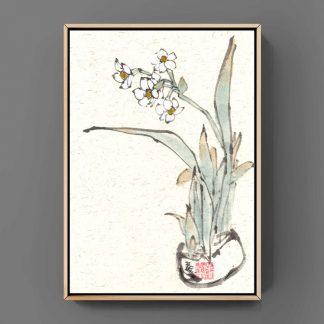 Narzisse Daffodil sumie painting chinesische japanische Tusche Malerei janpanises chinese ink painting 水仙