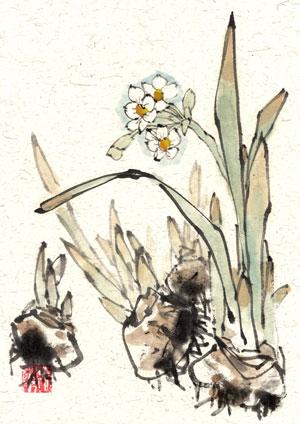 blauer Vogel blue bird chinese japanese ink sumie painting chinesische japanische Tusche Zeichnung Malerei Kunst