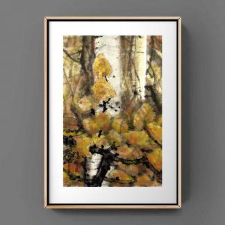 Birke birch Tusche Malerei Sumi-e painting chinesische japanische wall art Wand Kunst 白桦树