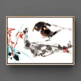 orchid Orchidee sumie painting chinesische japanische Tusche Malerei janpanises chinese ink painting 竹子 鸟