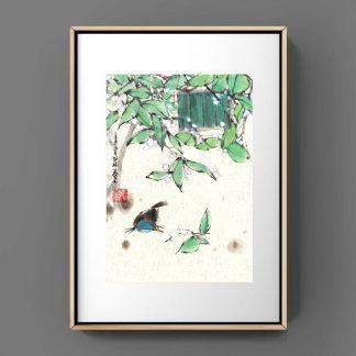 Bird Vogel sumie painting chinesische japanische Tusche Malerei janpanises chinese ink painting