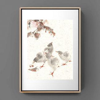 Hähnchen chicken Küken sumie painting chinesische japanische Tusche Malerei janpanises chinese ink painting 鸡 wall art Wand Kunst Bürodekor Wohndekor office decoration home decoration