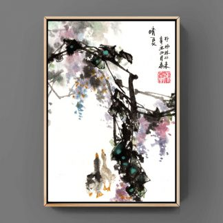 sumie painting chinesische japanische Tusche Malerei janpanises chinese ink painting 鸡 wall art Wand Kunst Bürodekor Wohndekor office decoration home decoration