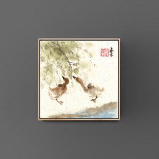 sumie painting chinesische japanische Tusche Malerei janpanises chinese ink painting 鸡 wall art Wand Kunst Bürodekor Wohndekor office decoration home decoration