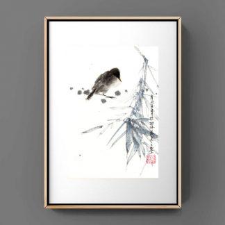 bamboo Bambus sumie painting chinesische japanische Tusche Malerei janpanises chinese ink painting 竹子 鸟