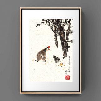 chicken hähchen sumie painting chinesische japanische Tusche Malerei janpanises chinese ink painting