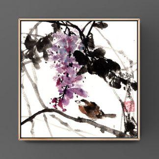 Blauer Regen wisteria Bambus sumie painting chinesische japanische Tusche Malerei janpanises chinese ink painting 紫藤