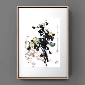 Chrysantheme chrysanthemum daisy sumie painting chinesische japanische Tusche Malerei janpanises chinese ink painting 菊花