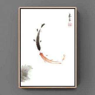 fisch Tusche Malerei Sumi-e painting chinesische japanische Kunstpostkarten